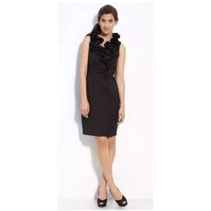Black Taffeta Ruffle Neck Dress